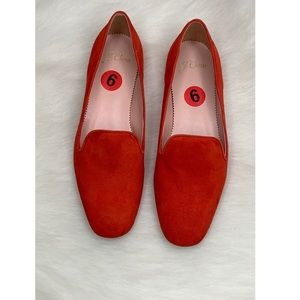 J. Crew Round Toe Red Leather Suede Flats Sz 6
